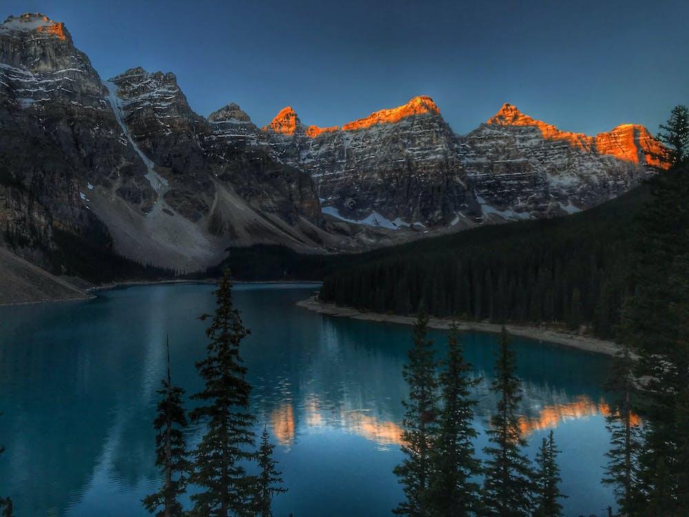 вершина, вечер, вода
