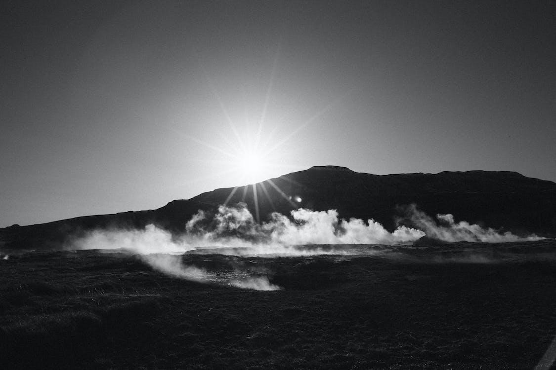 гори, Захід сонця, пар