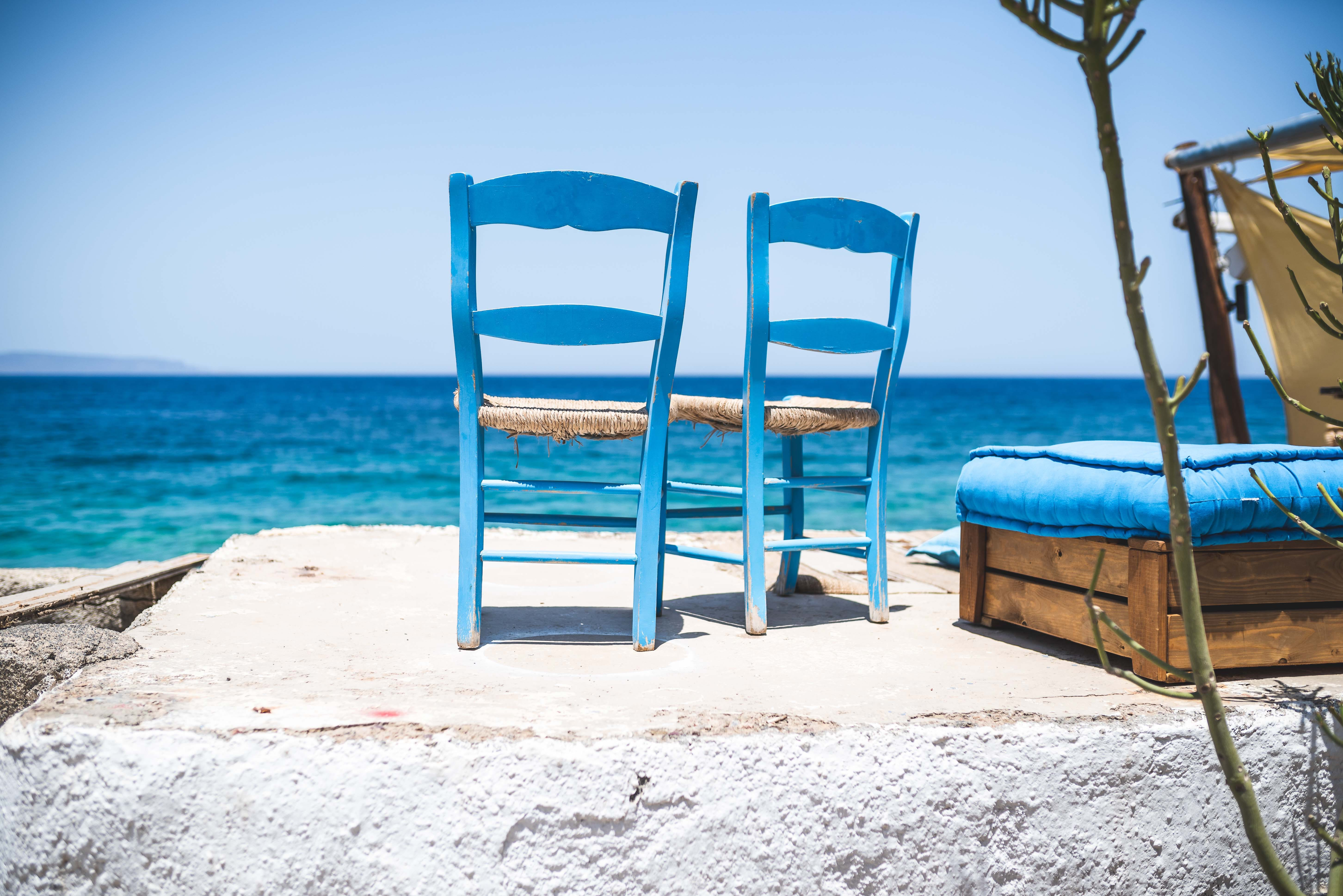 Two Blue-and-brown Chairs