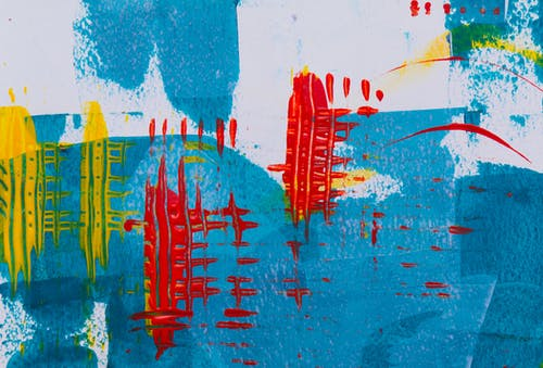 White, Blue, and Red Abstract Painting