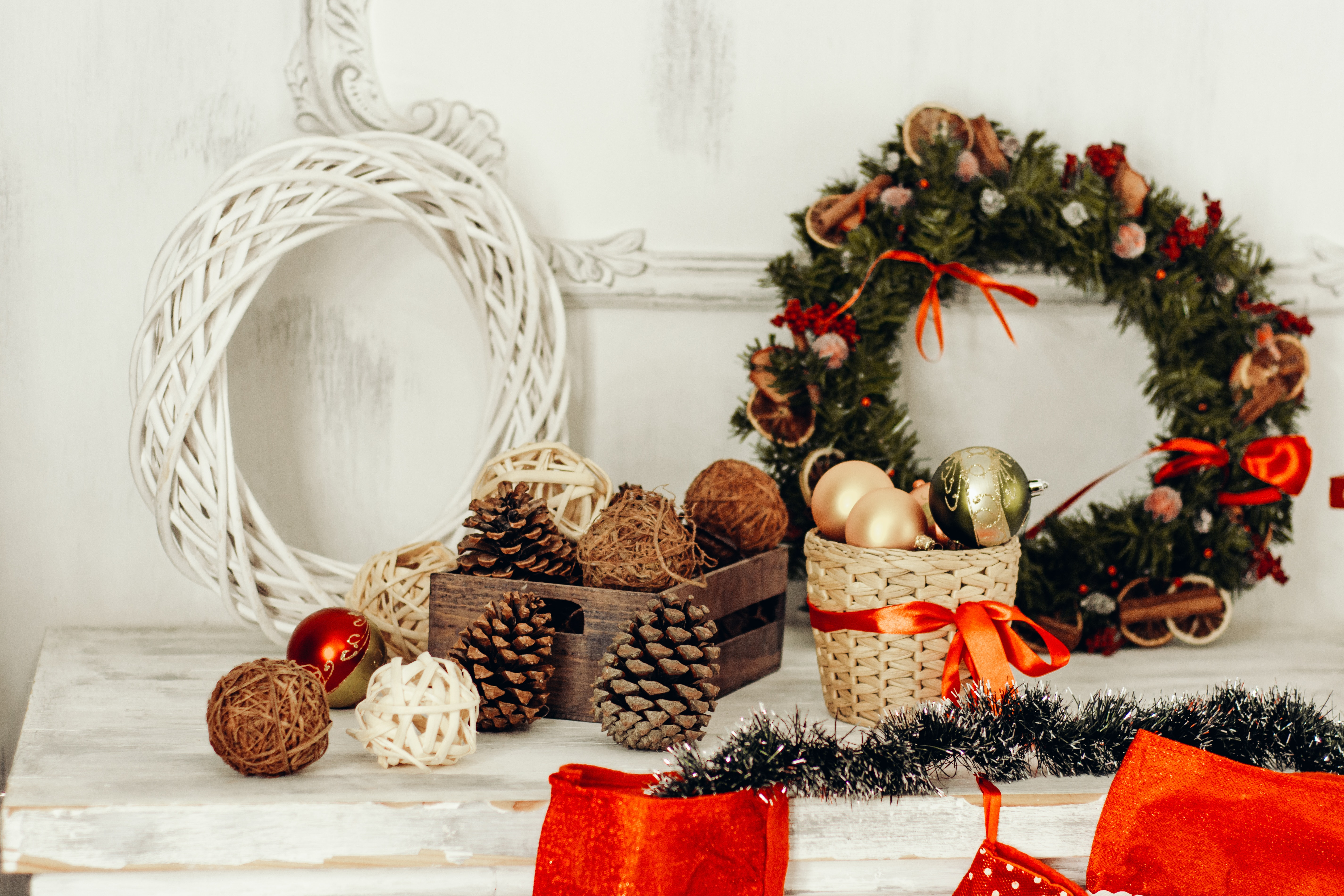Christmas Decorations On Wooden Table Free Stock Photo