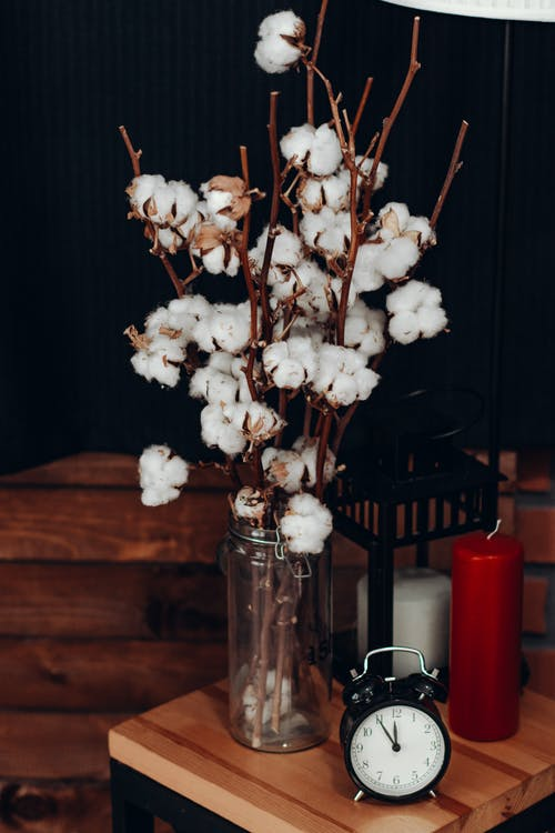 White Cotton Flowers in Vase Beside Clock