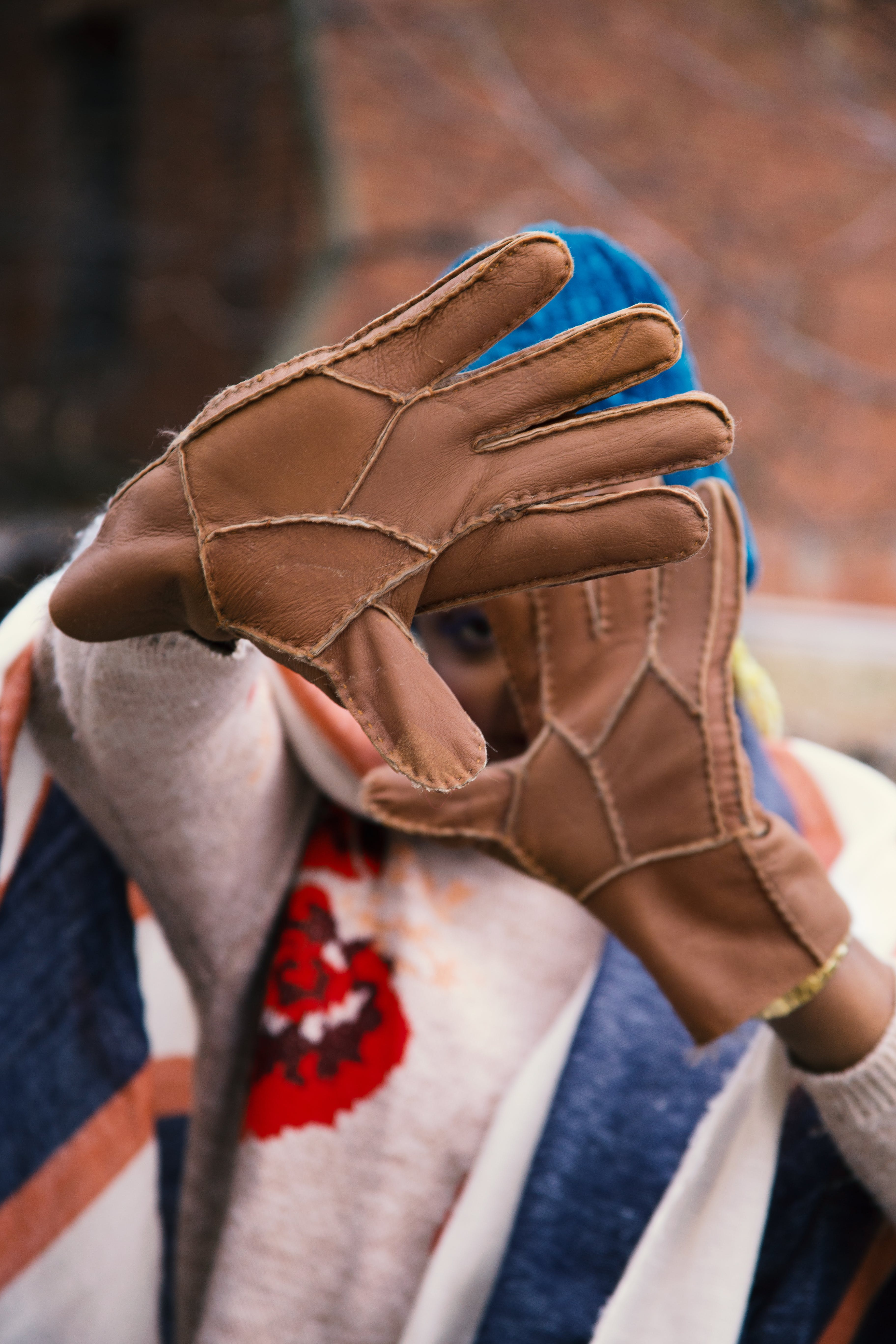Person Wearing Brown Leather Gloves
