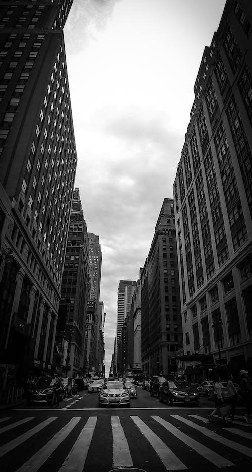 Foto stok gratis fotografi perkotaan, hitam dan putih, jalan, kota New York