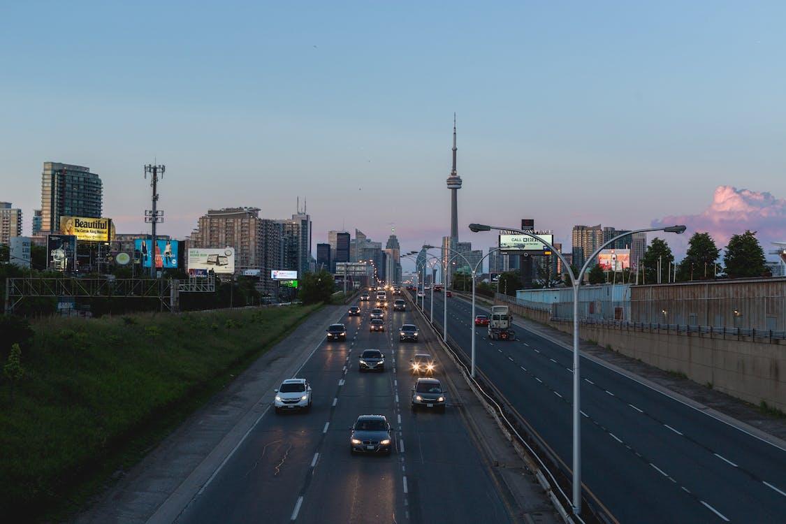 architektura, autostrada, bruk