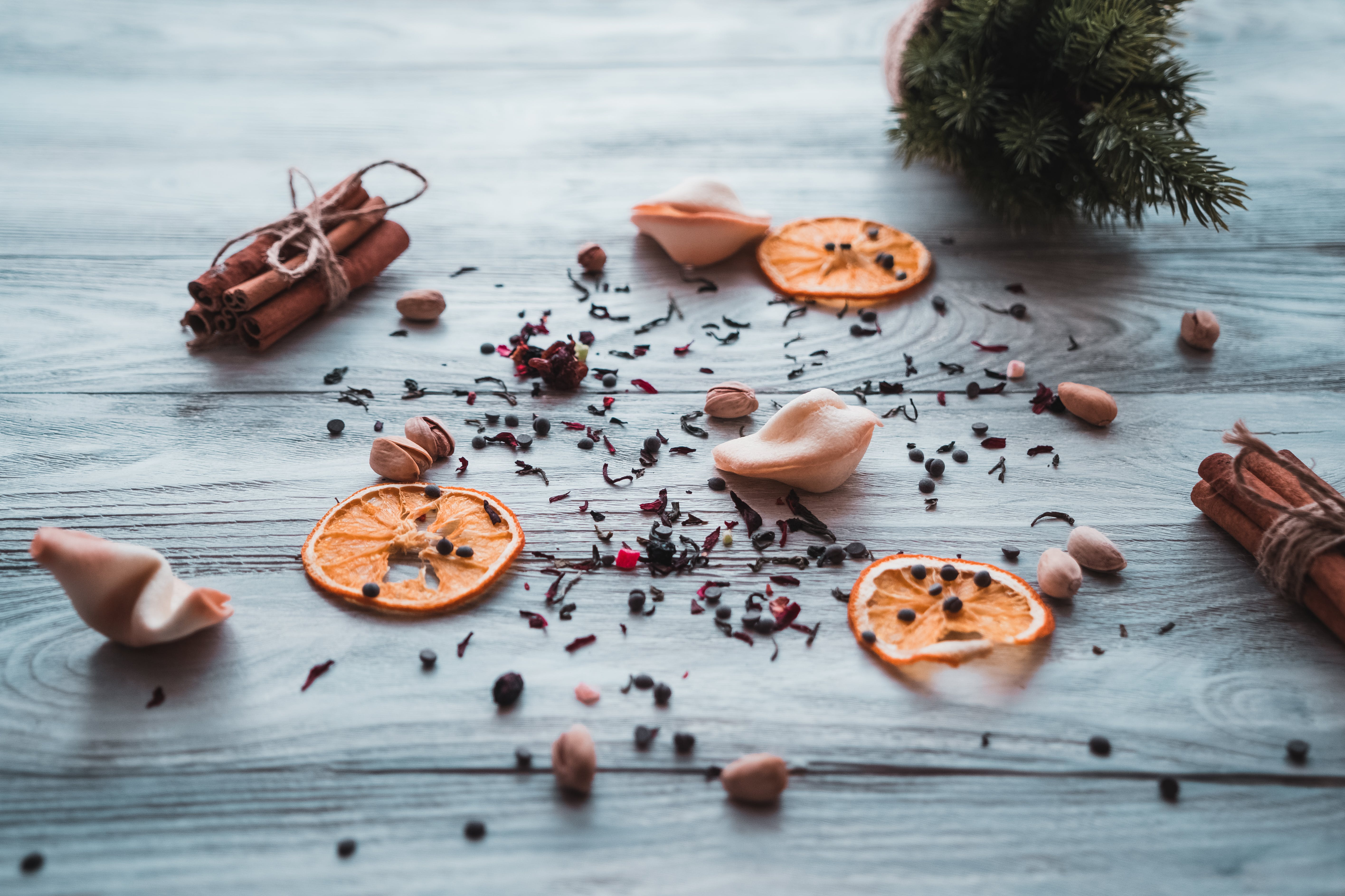 Grounded Spices on Wooden Surface