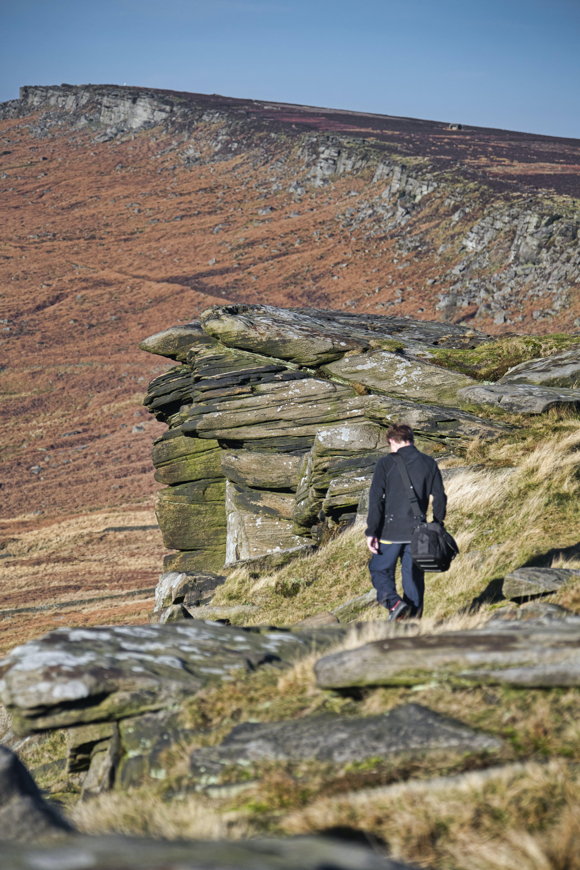 Free stock photo of autumn colours, blue sky, cliffs, danger