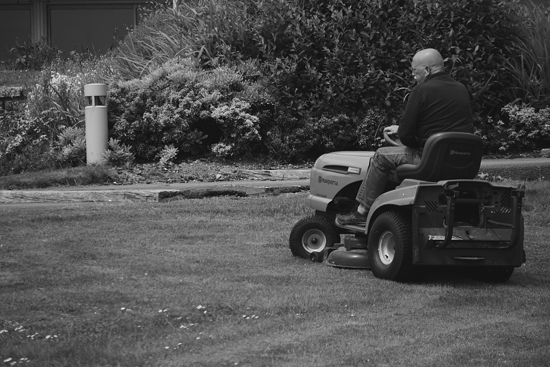 Man in Black Polo Shirt Riding Riding Mower
