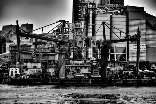 Free stock photo of asia, black and white, factory