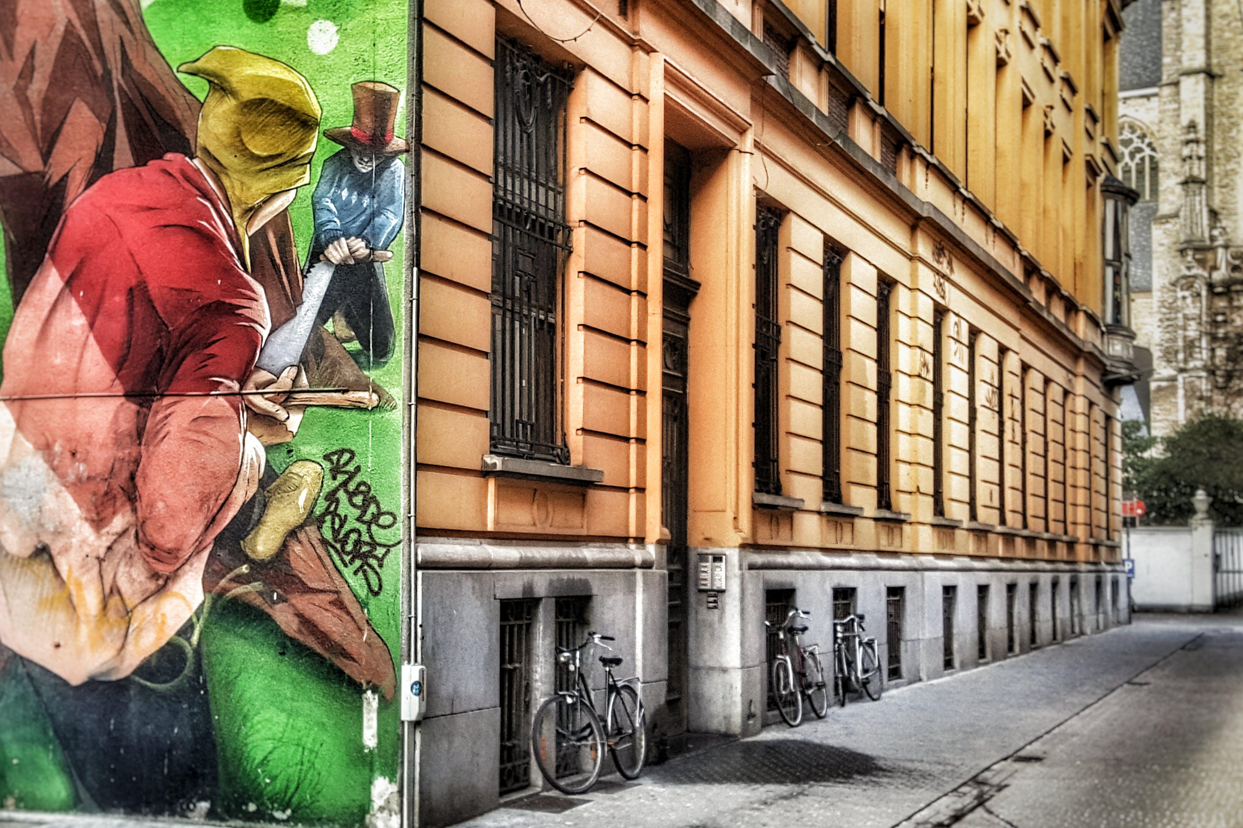 Free stock photo of antwerp, empty street, street, wallpainting