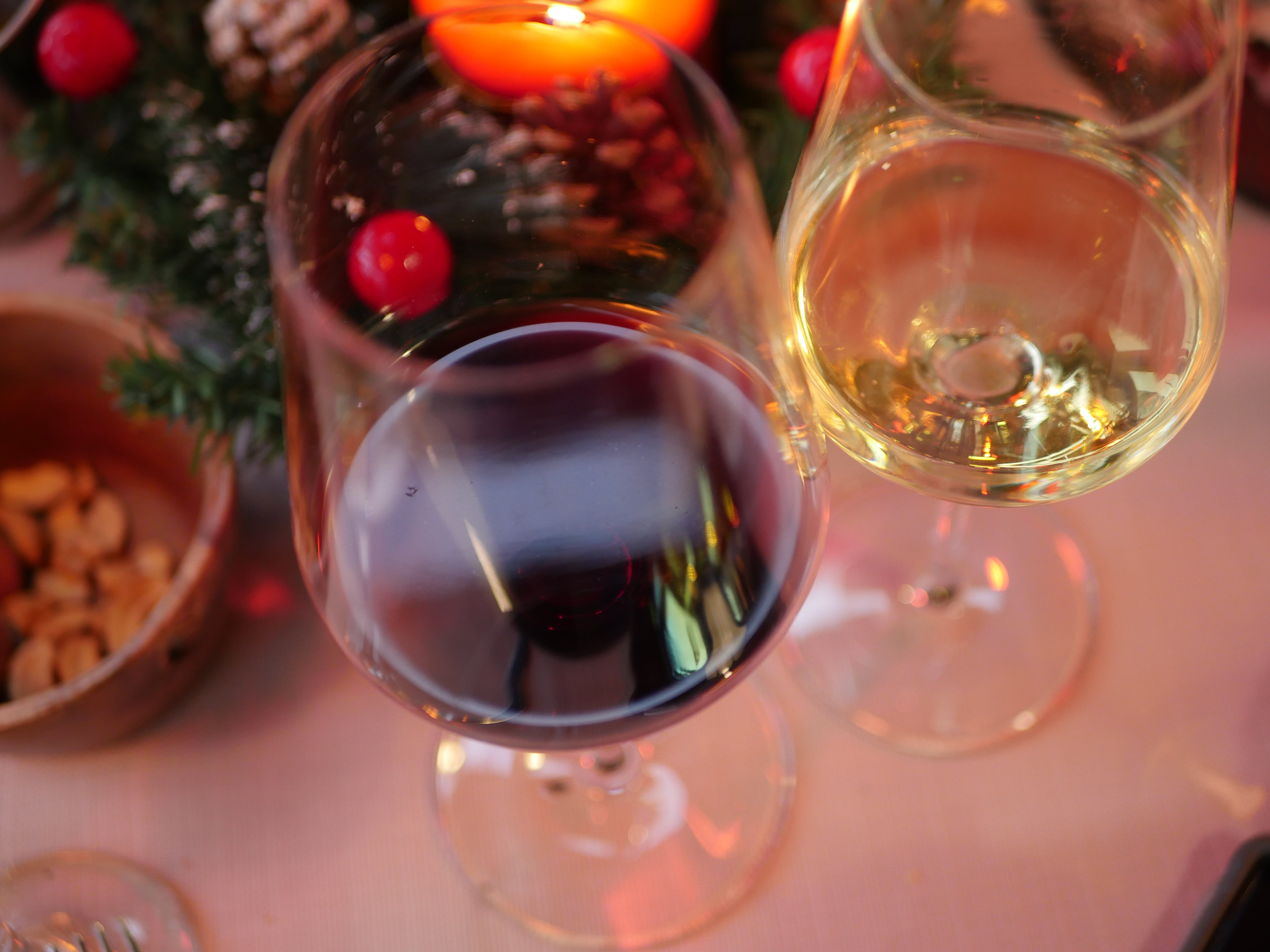 Free stock photo of candle, wine glasses