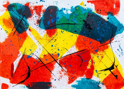 Blue, White, Yellow And Red Abstract Painting
