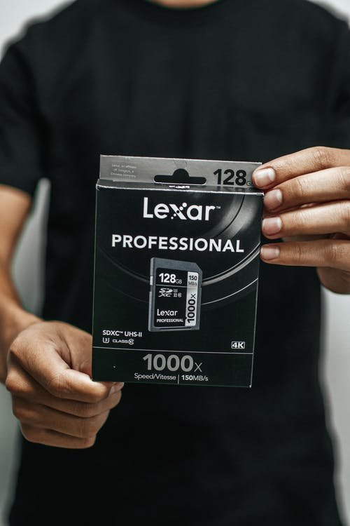 Person Holding Lexar Professional Memory Card Box