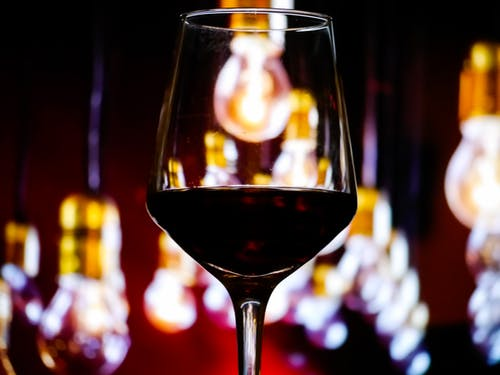 Free stock photo of red wine, string lights, wine glass