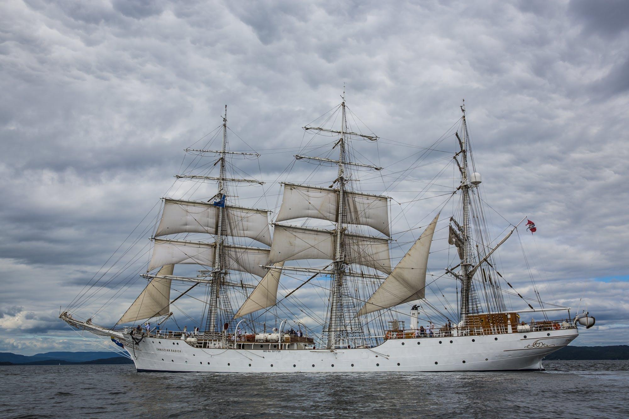 boat, classic, clouds