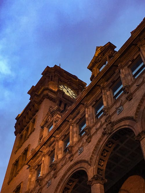 Free stock photo of architecture, clock tower, train station
