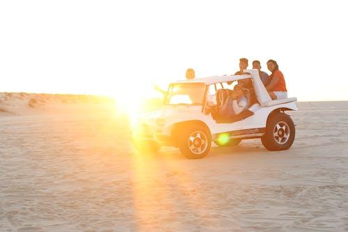 คลังภาพถ่ายฟรี ของ ตะวันลับฟ้า, ทราย, ทะเลทราย, รถแข่ง