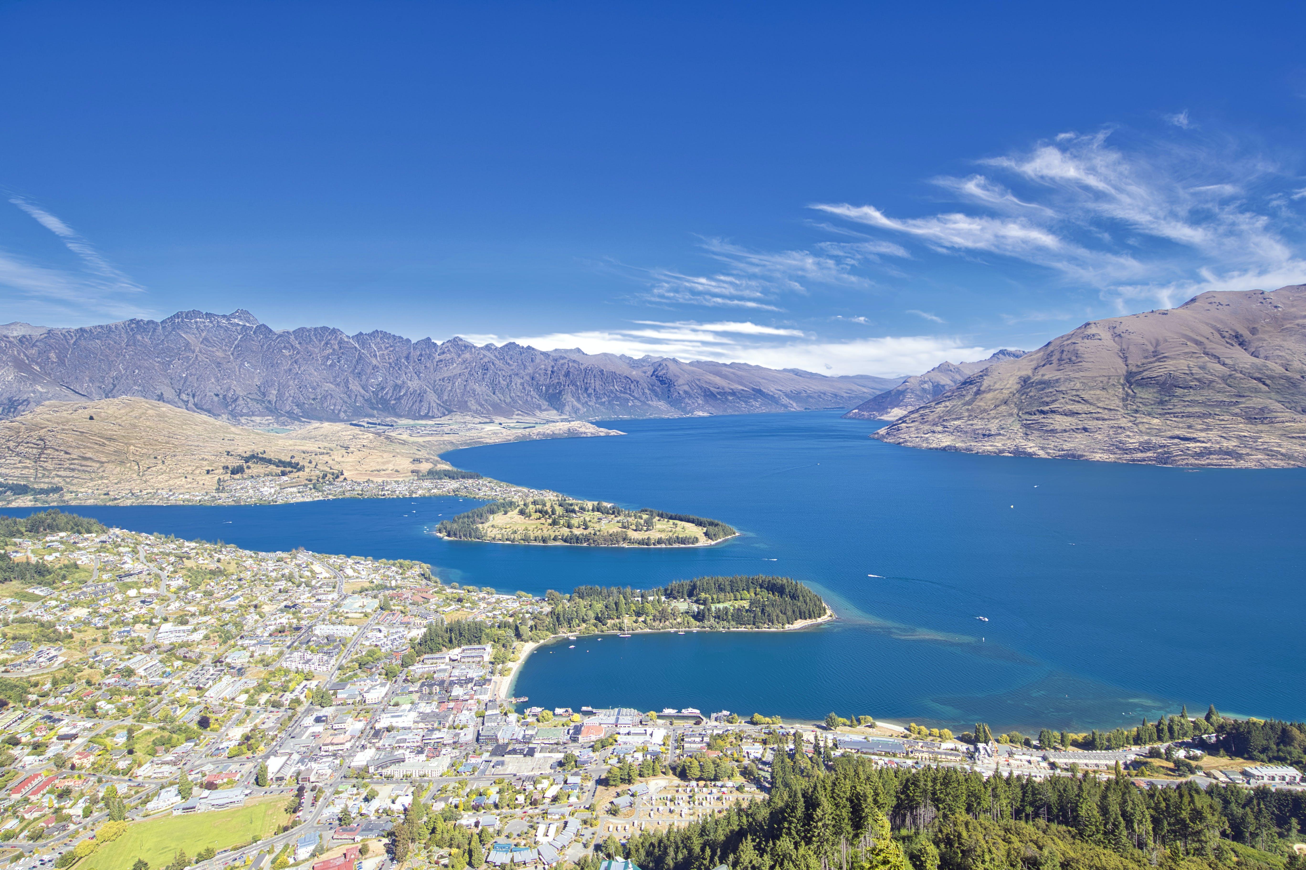 Free stock photo of blue sky, blue water, elevated view, lake wakatipu