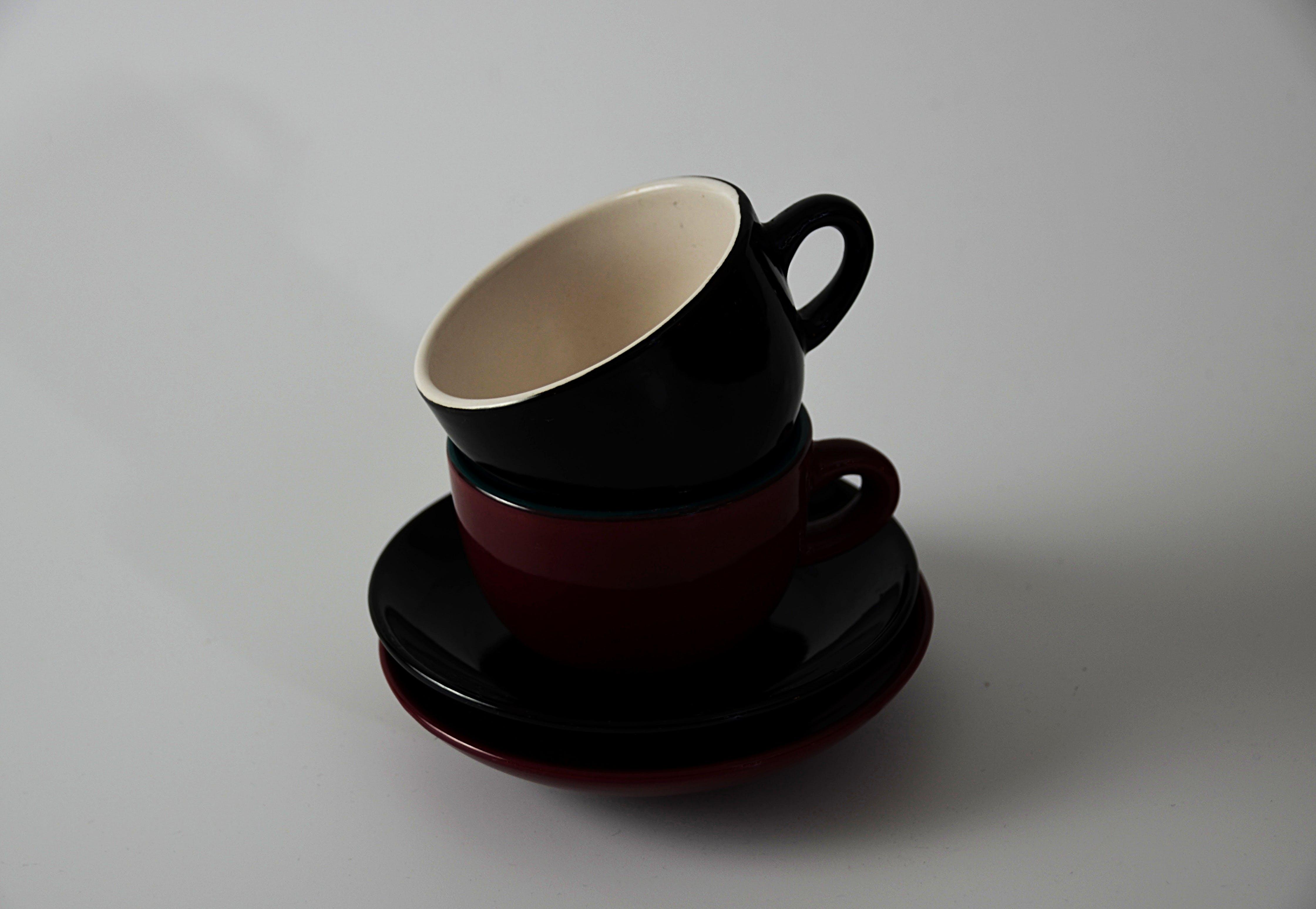 Red and Black Ceramic Mugs