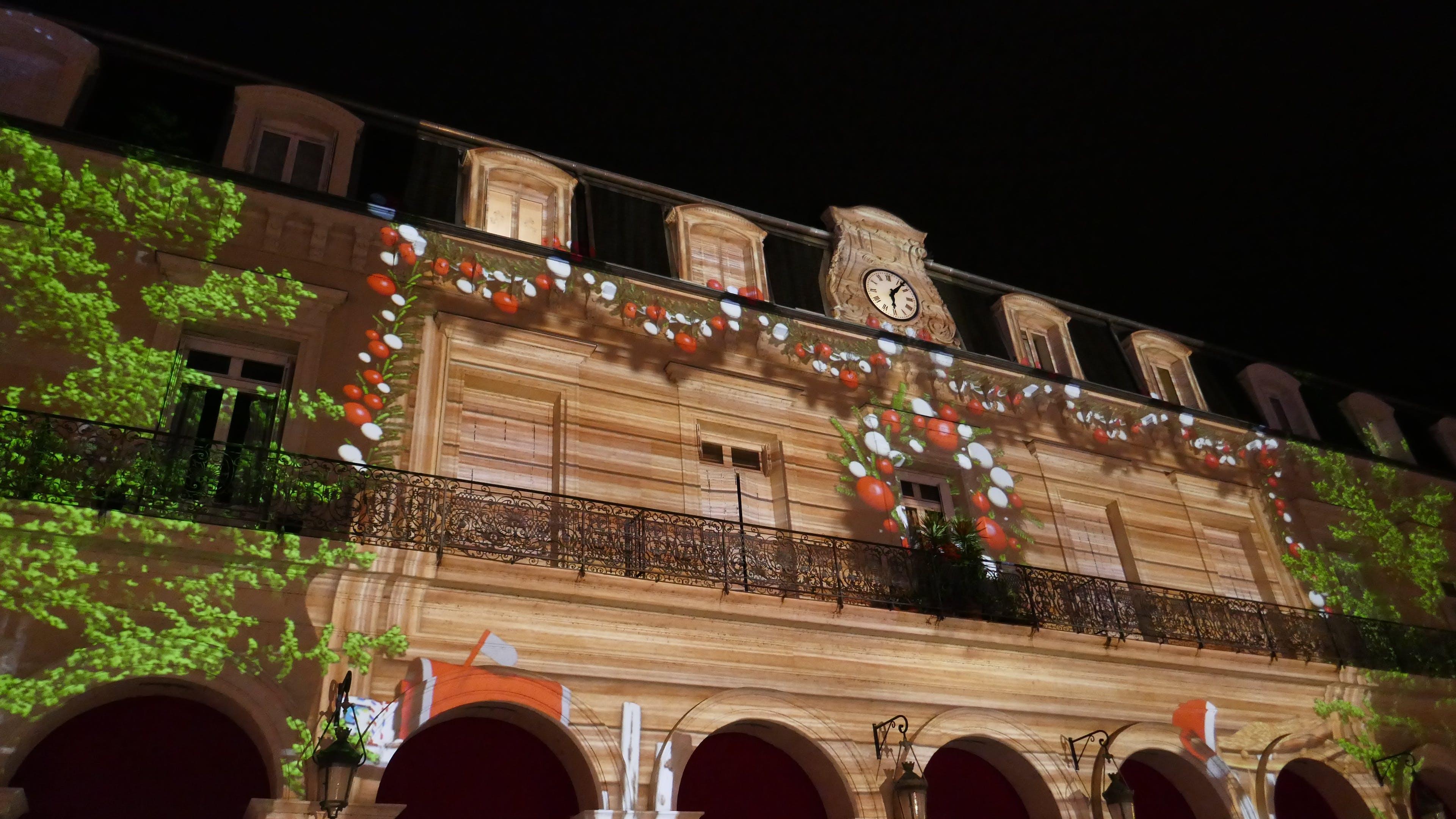 Free stock photo of Christmas magics, fantastic, light show on facades, night lights