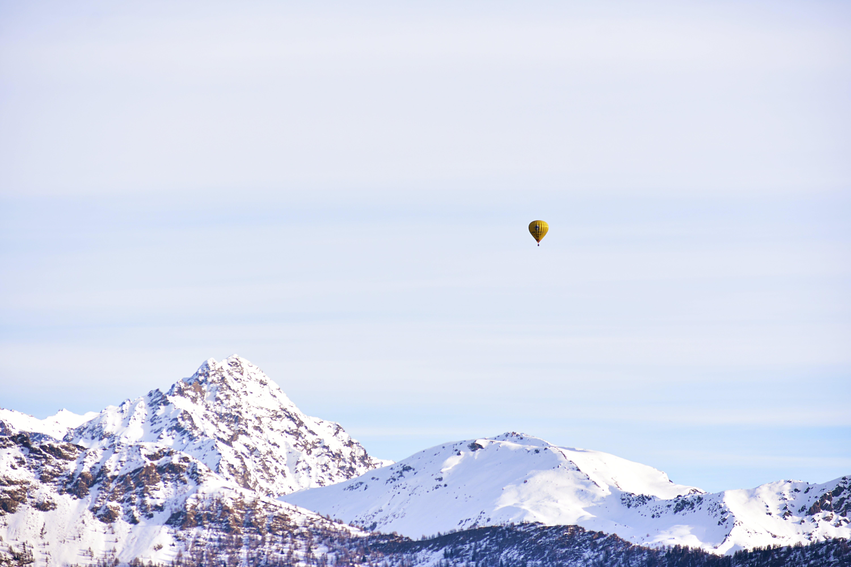 Yellow Hot Air Balloon Floating