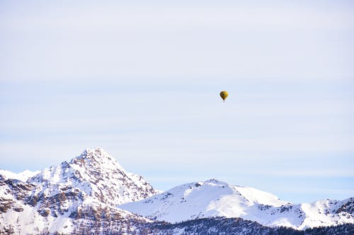 Yellow Hot Air Balloon Floating