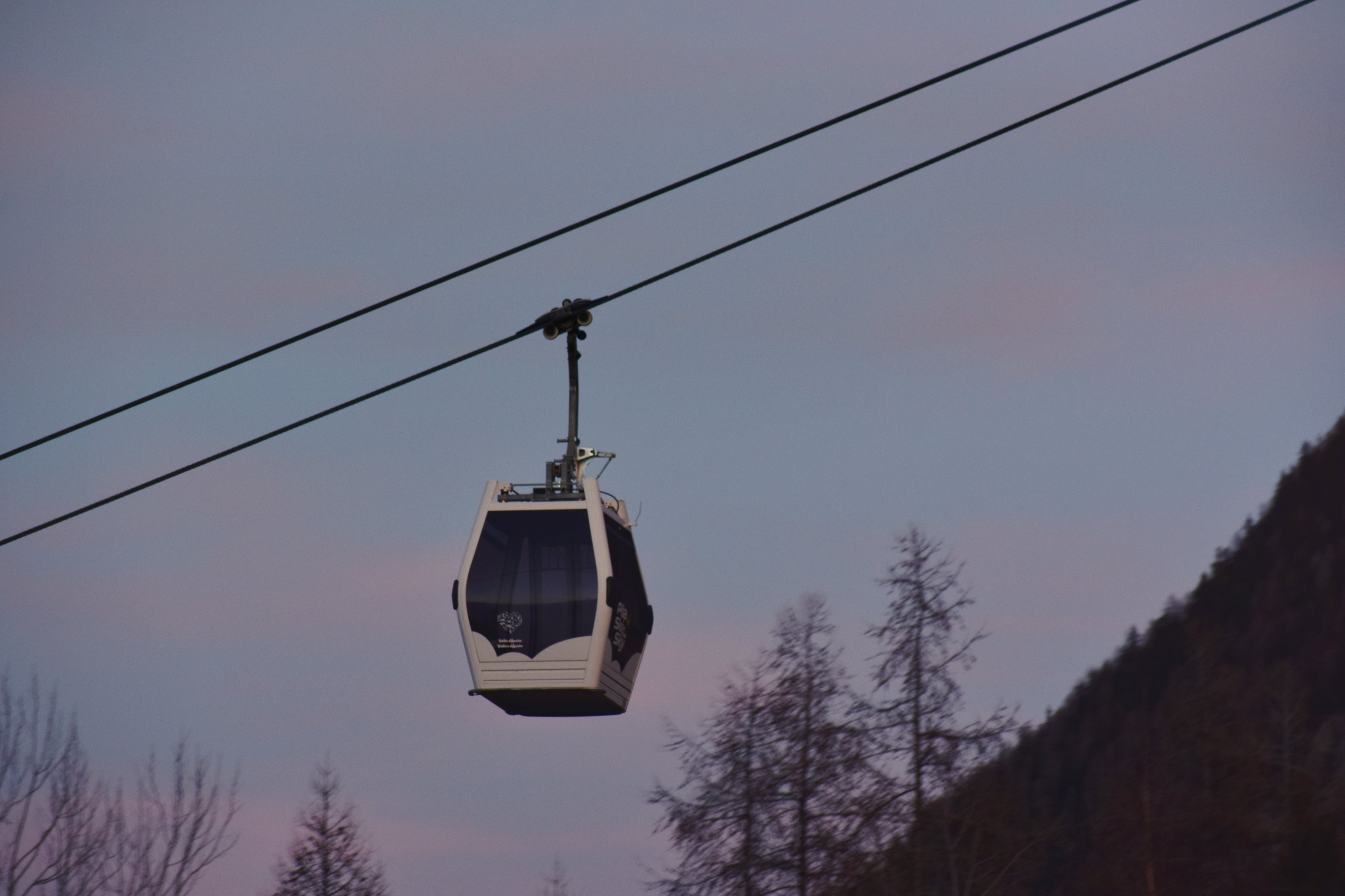 White And Black Cable Car