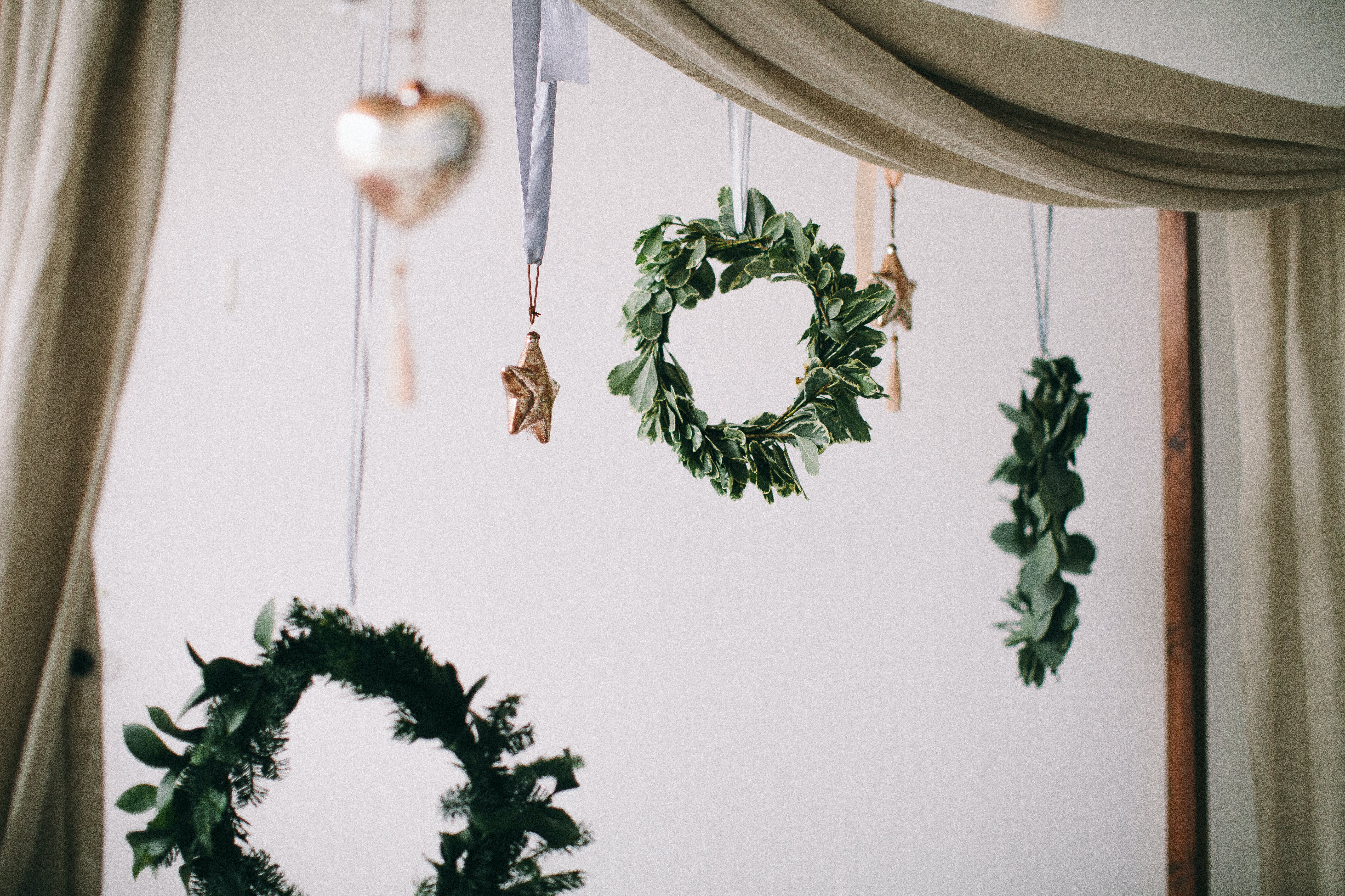 Green Wreath Hanging in Wall