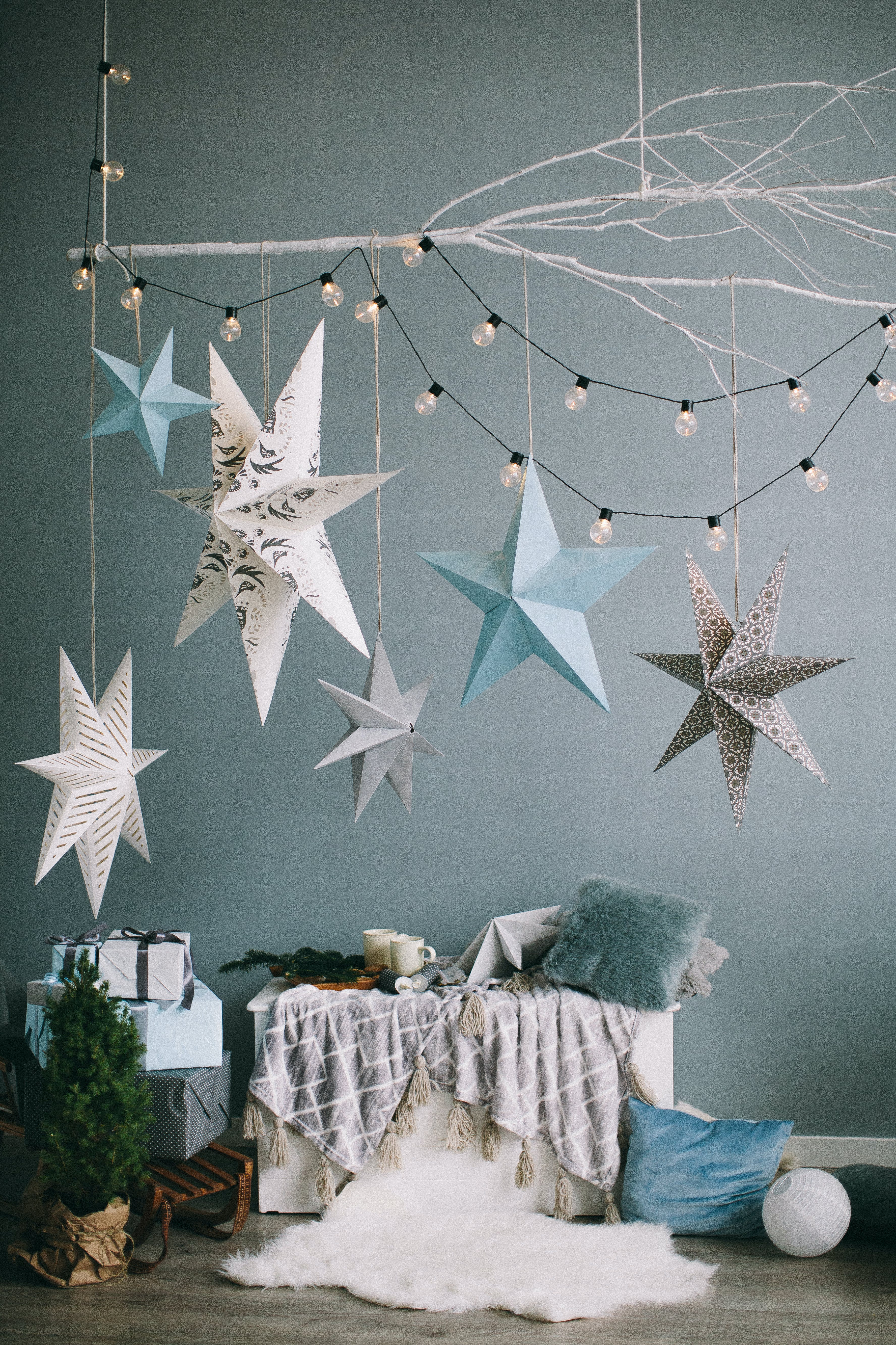 Blue, White, and Gray Hanging Star Decor