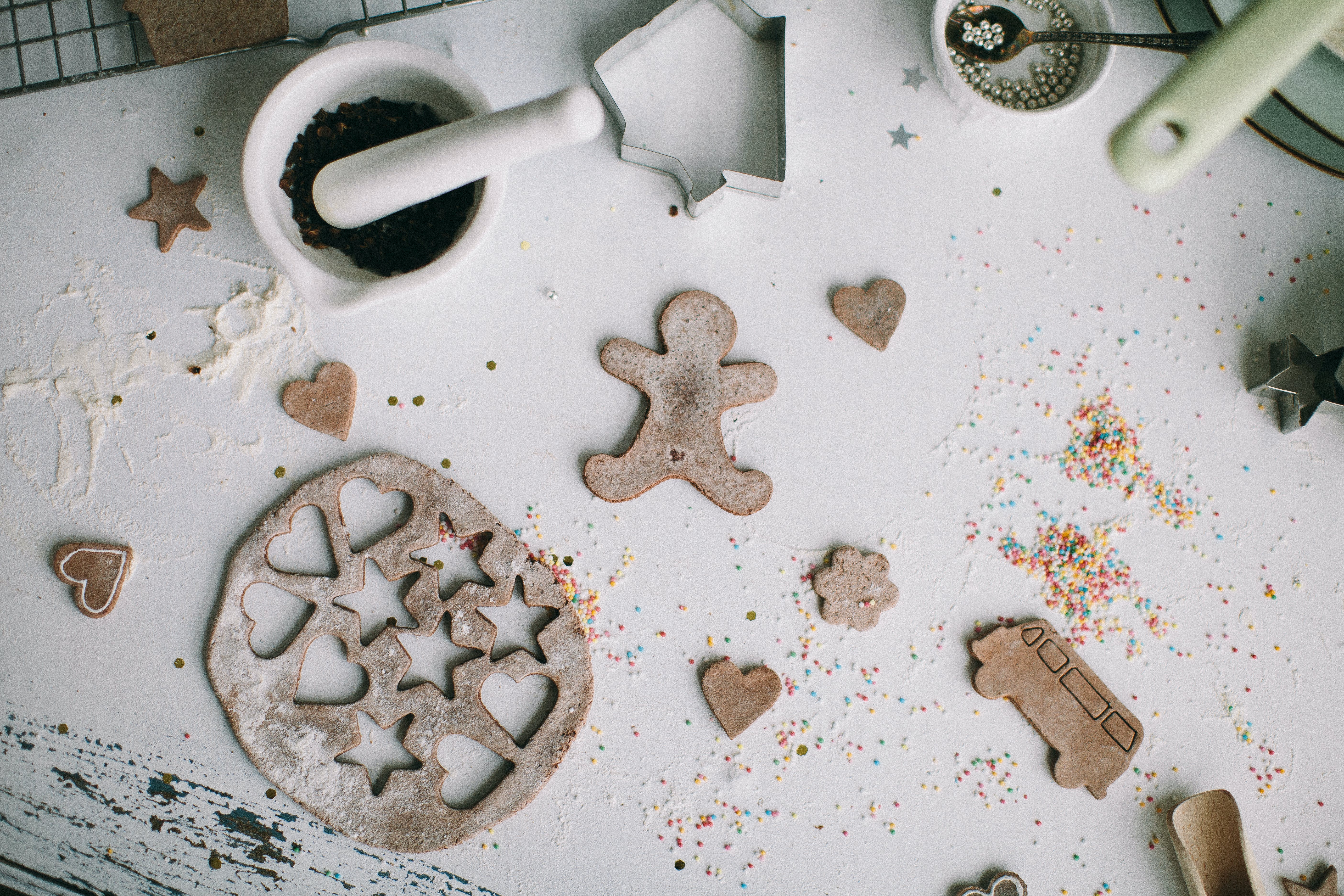 Gingerbread Cardboard Decor on White Surface