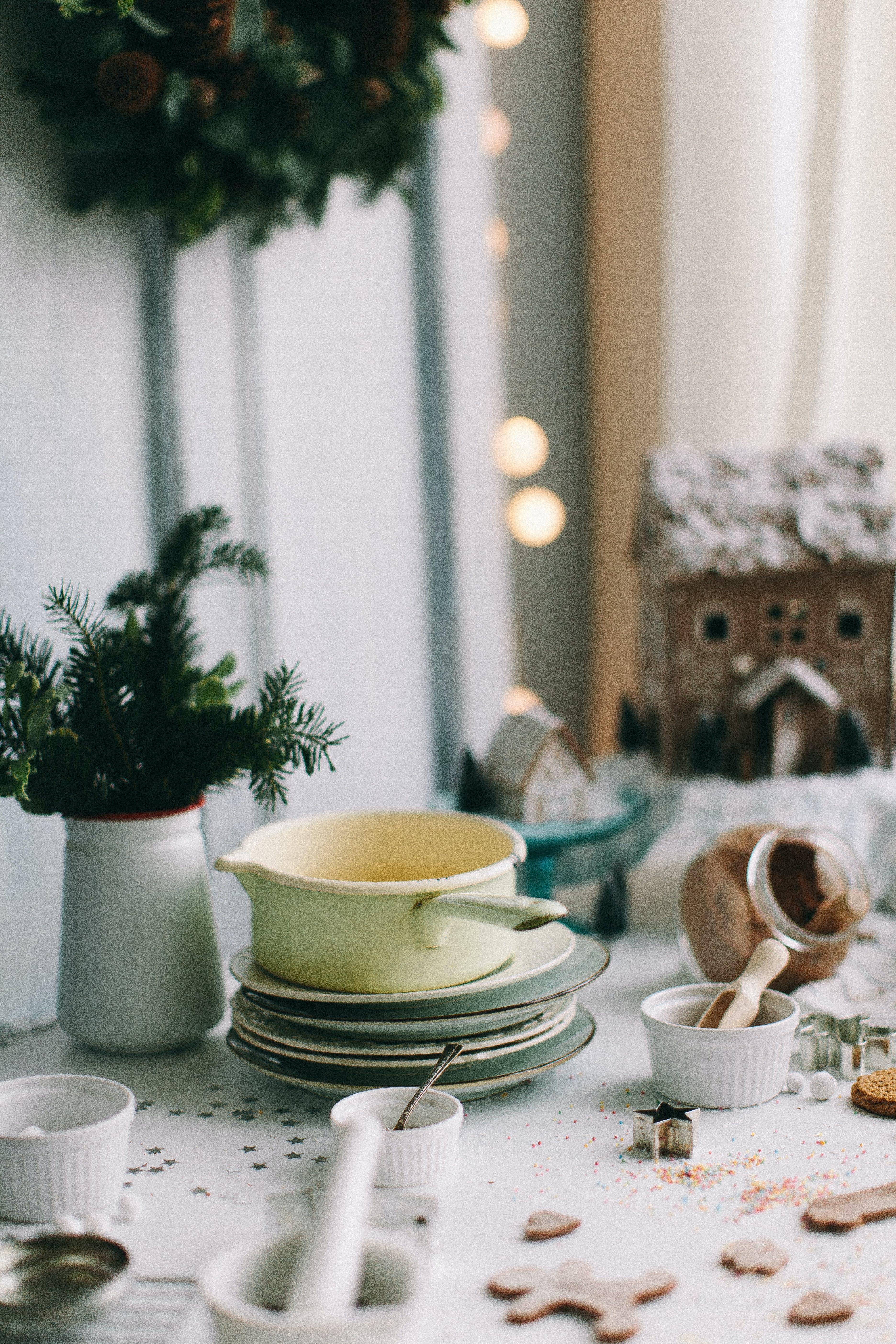 White Dinnerware Set on Table