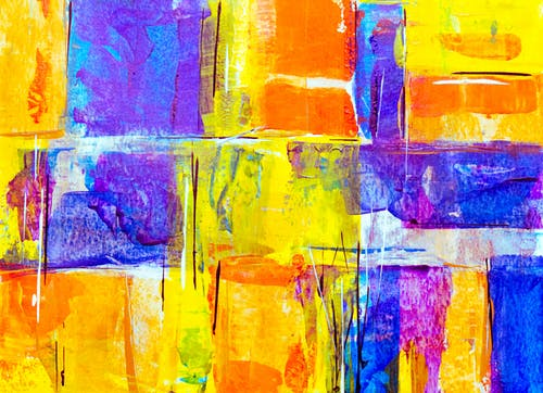 Yellow, Orange And Blue Abstract Painting