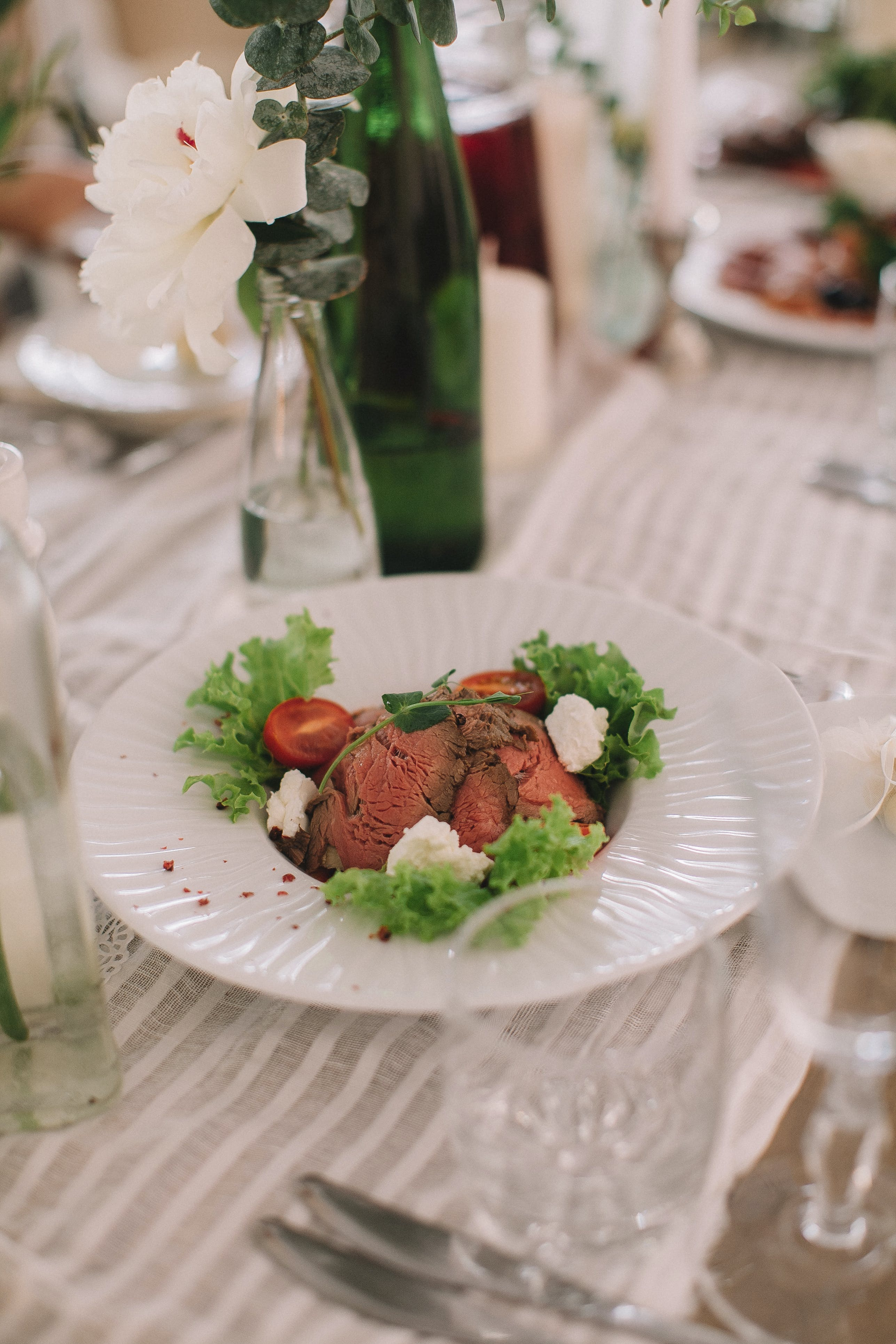Cooked Meat With Vegetables on White Plate