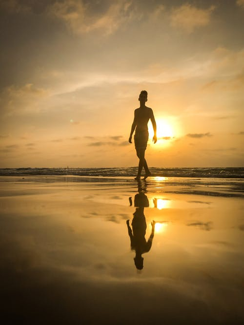 Silhouette of Man on Seashore