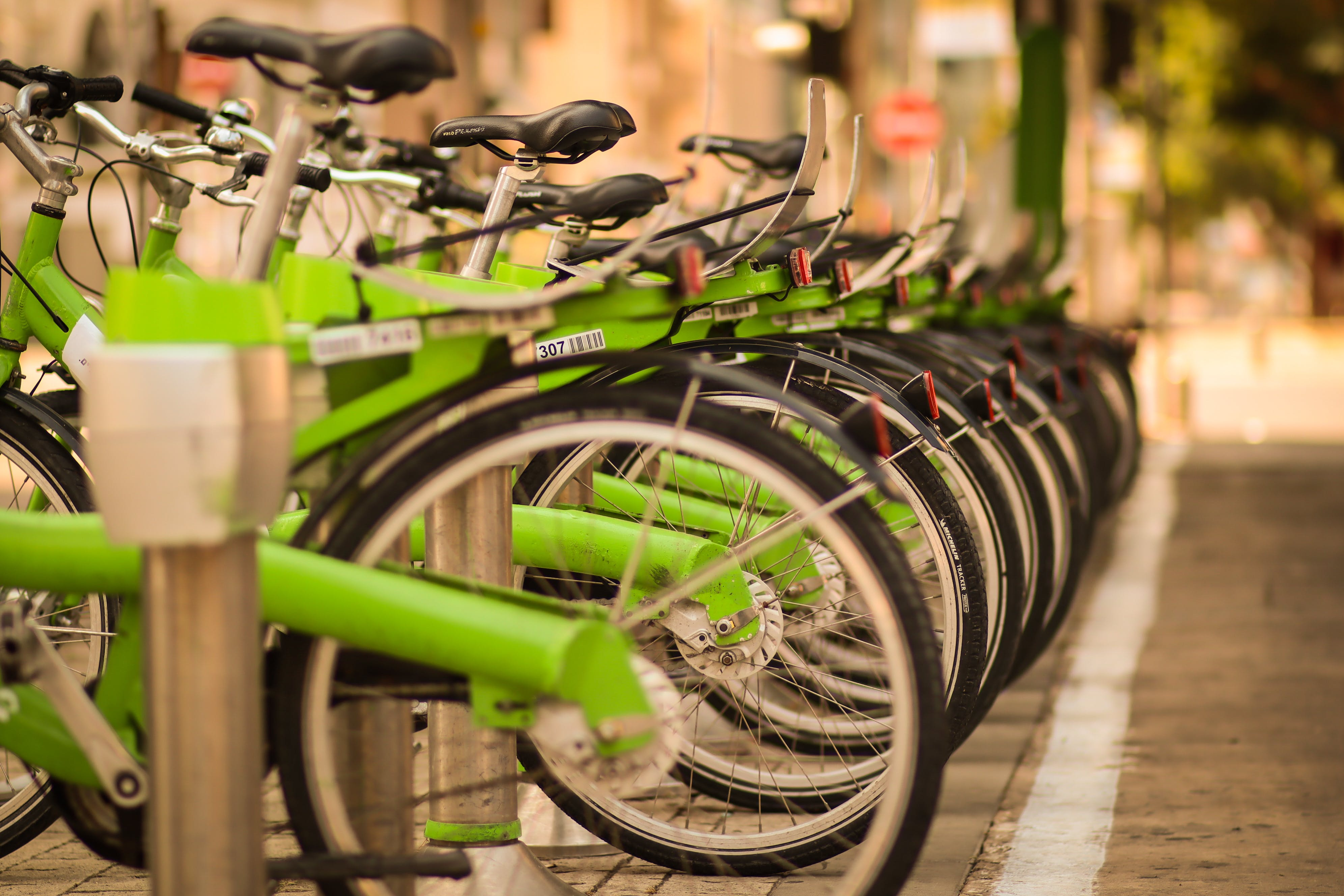 Free stock photo of bicycle, depth of field, green, green bicycle