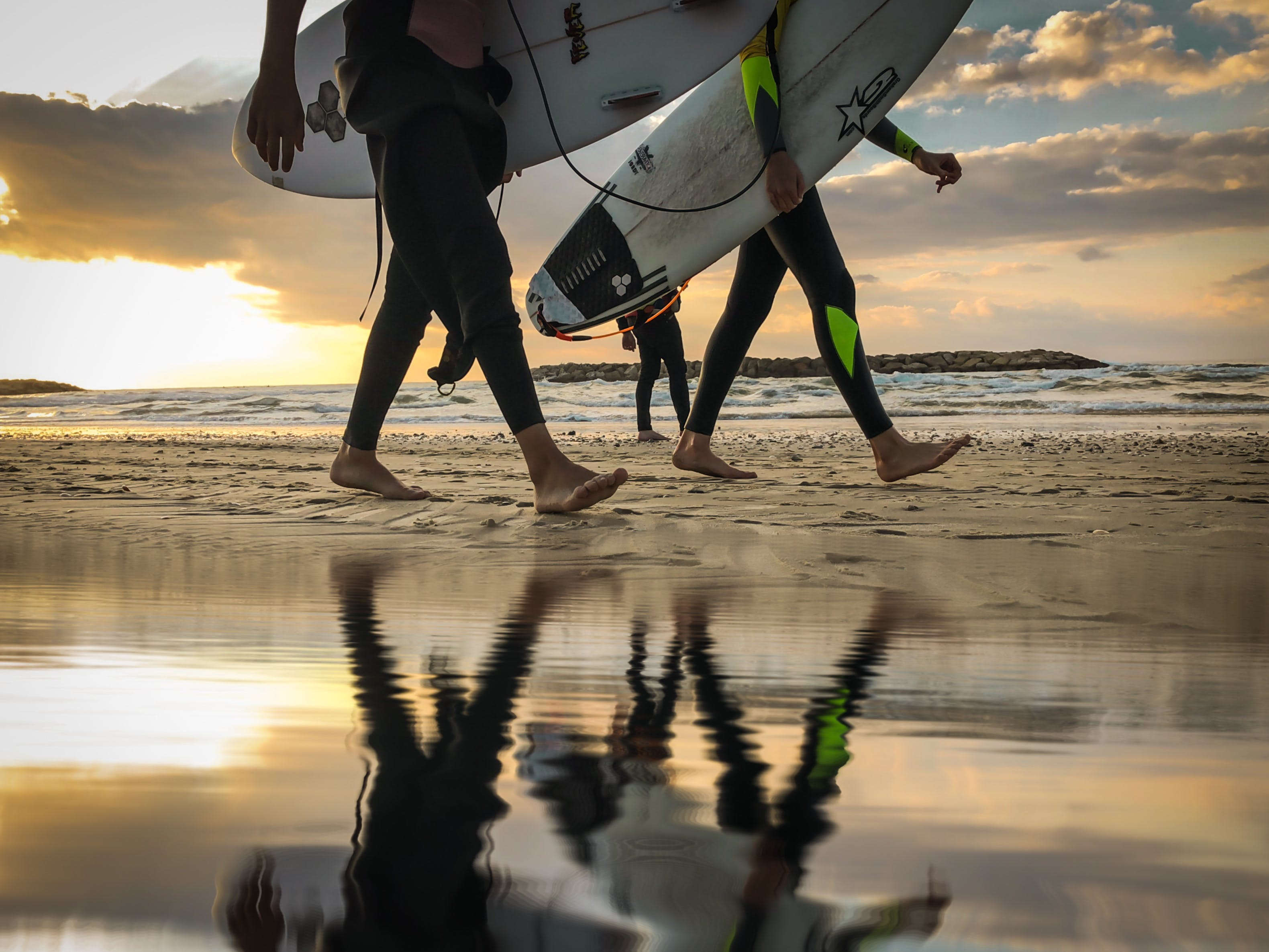 Free stock photo of beach, reflection, surf, surfer