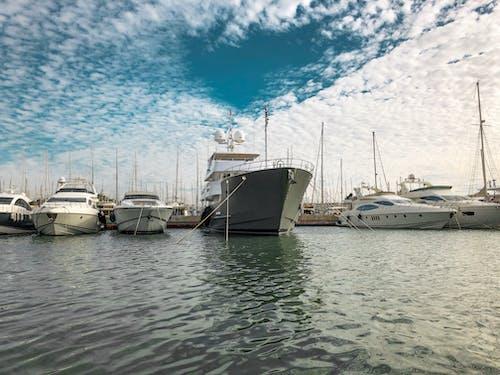 Free stock photo of boat, clouds, marina
