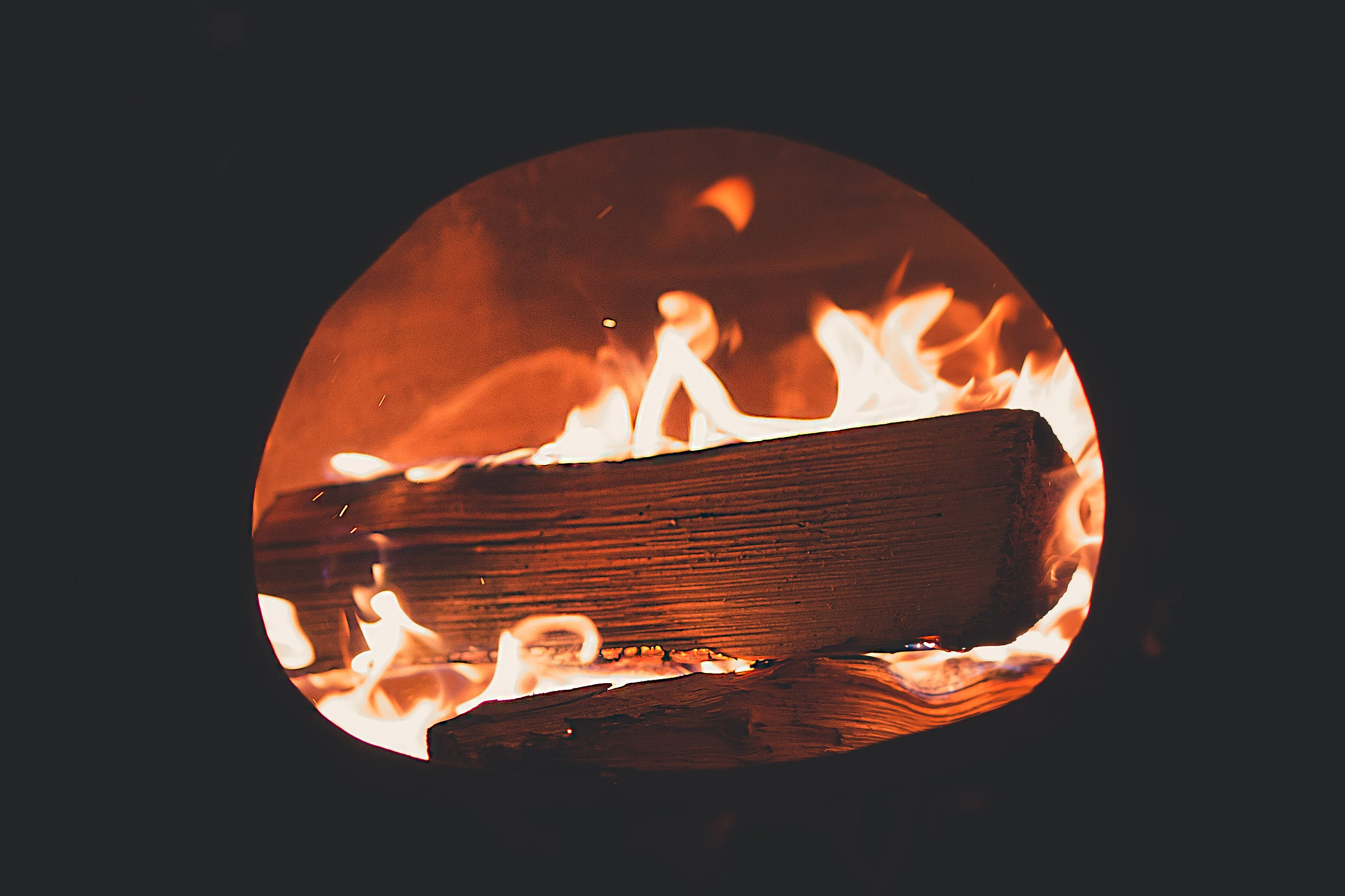 Close-up Photo of Burning Wood in Fireplace