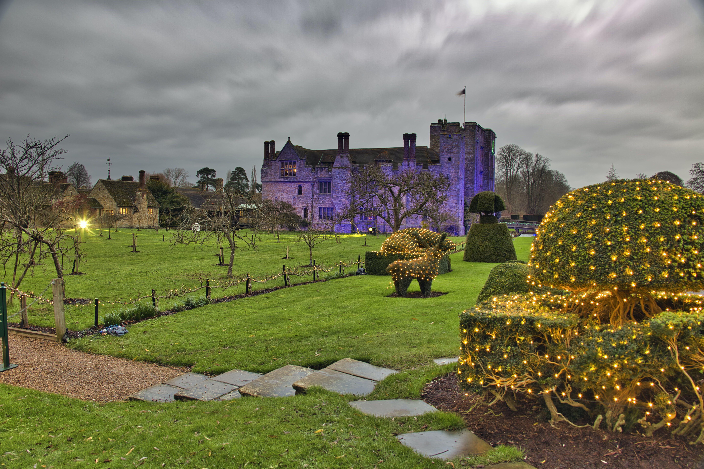 Free stock photo of castle, christmas lights, coloured lights, hever castle