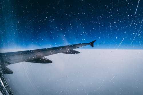 Free stock photo of aircraft wing, airplane, airplane wing, blue