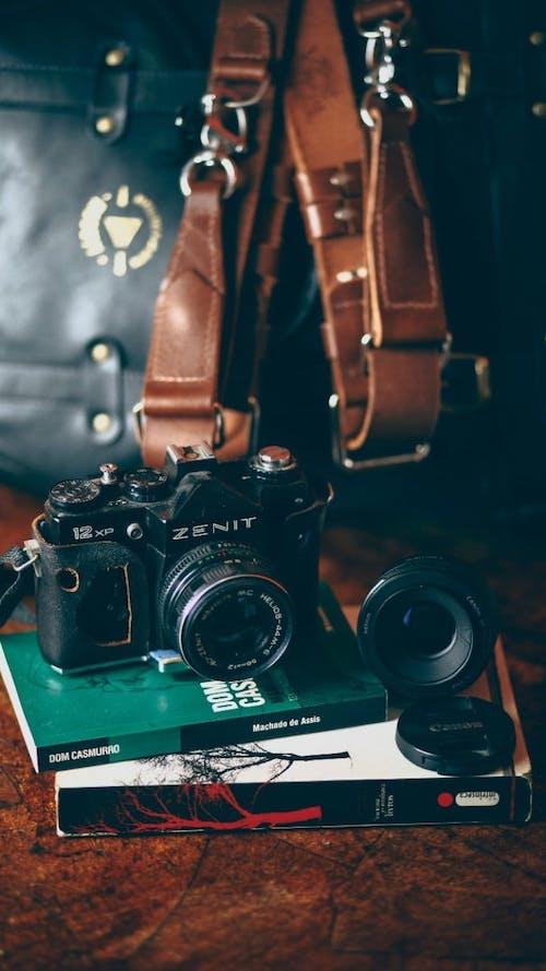 Gratis stockfoto met blauwig, boeken, bruin, cameralens