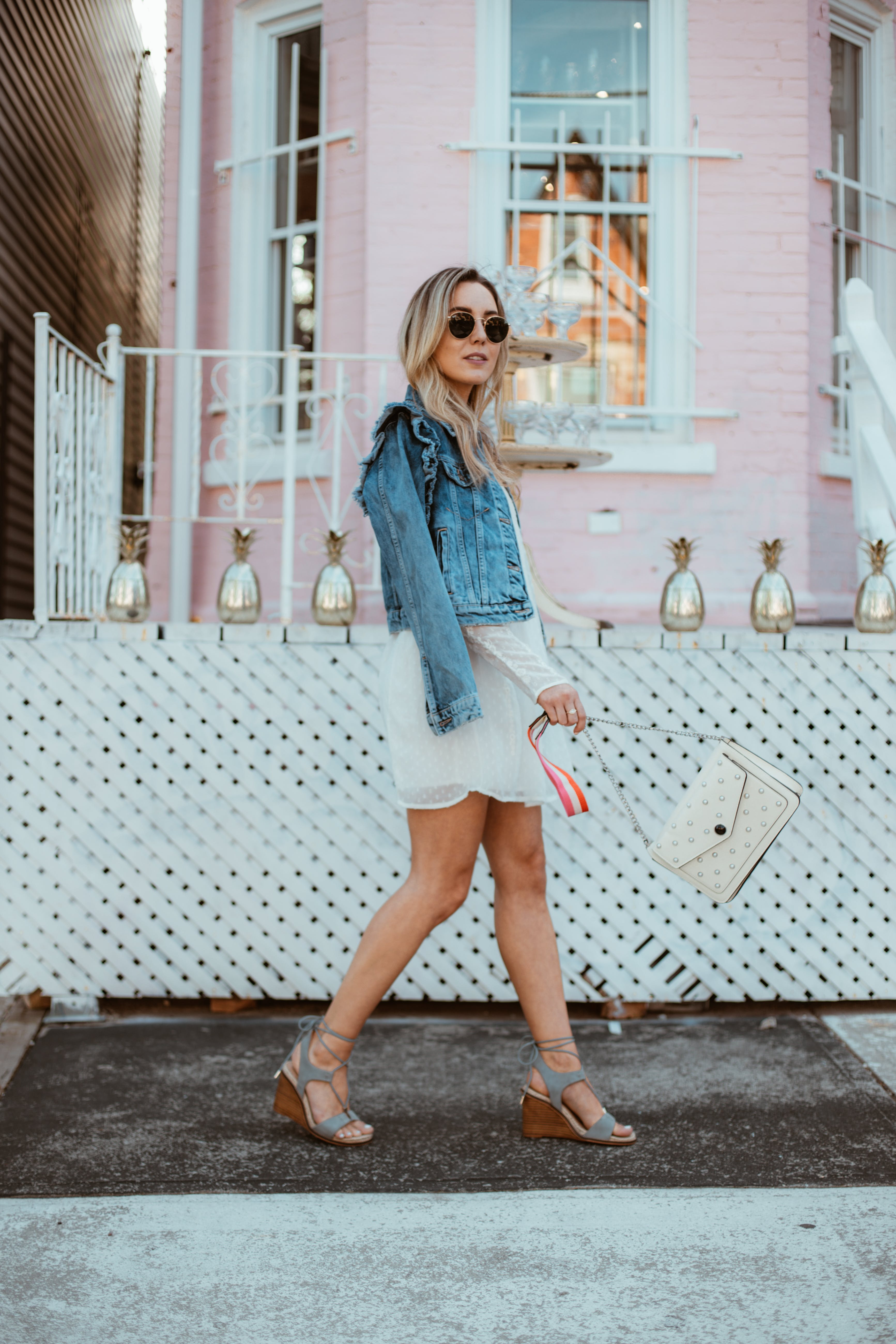 Women's White Cocktail Dress and Blue Denim Jacket Outfit