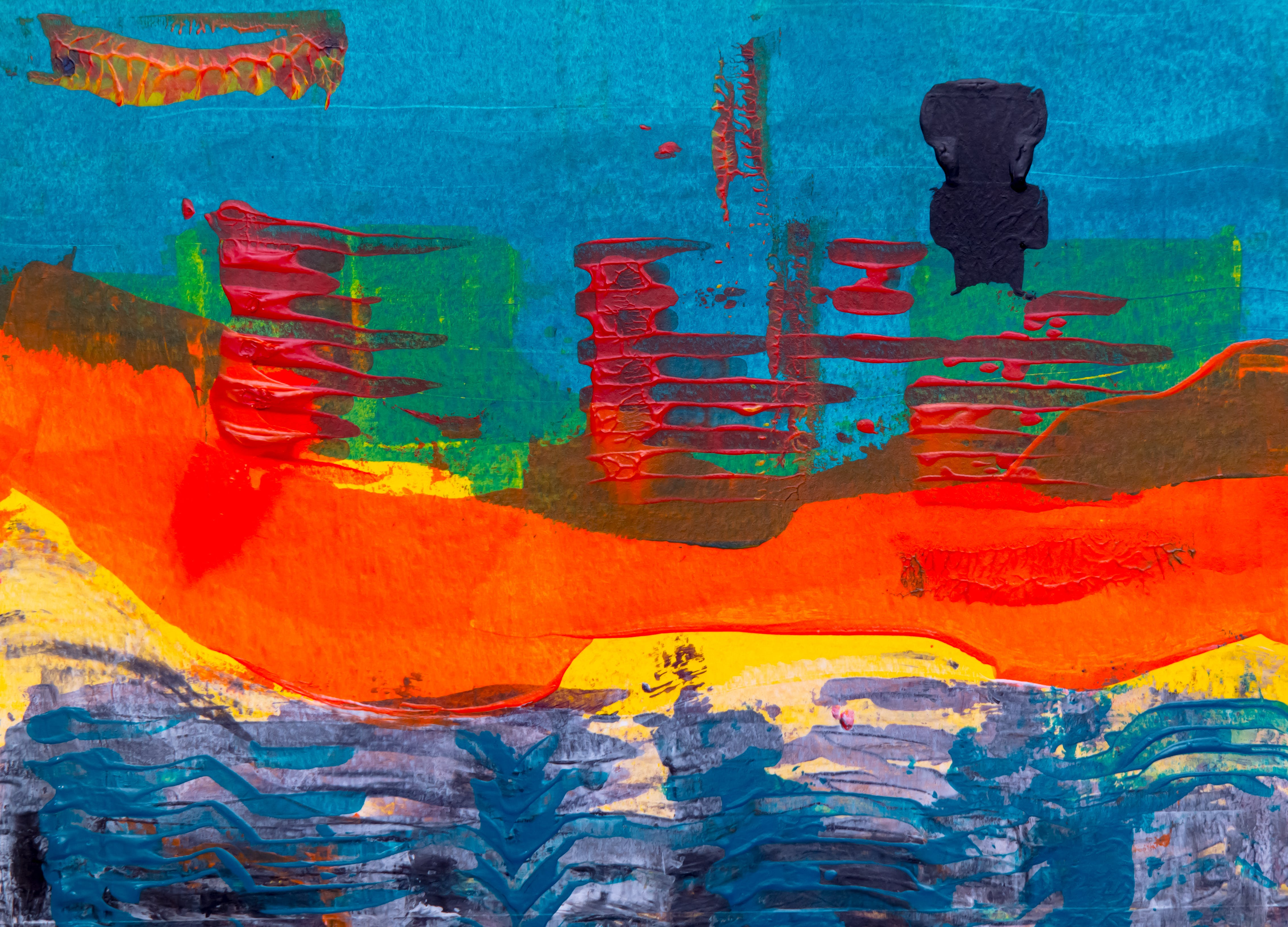Blue, Red And Yellow Abstract Painting