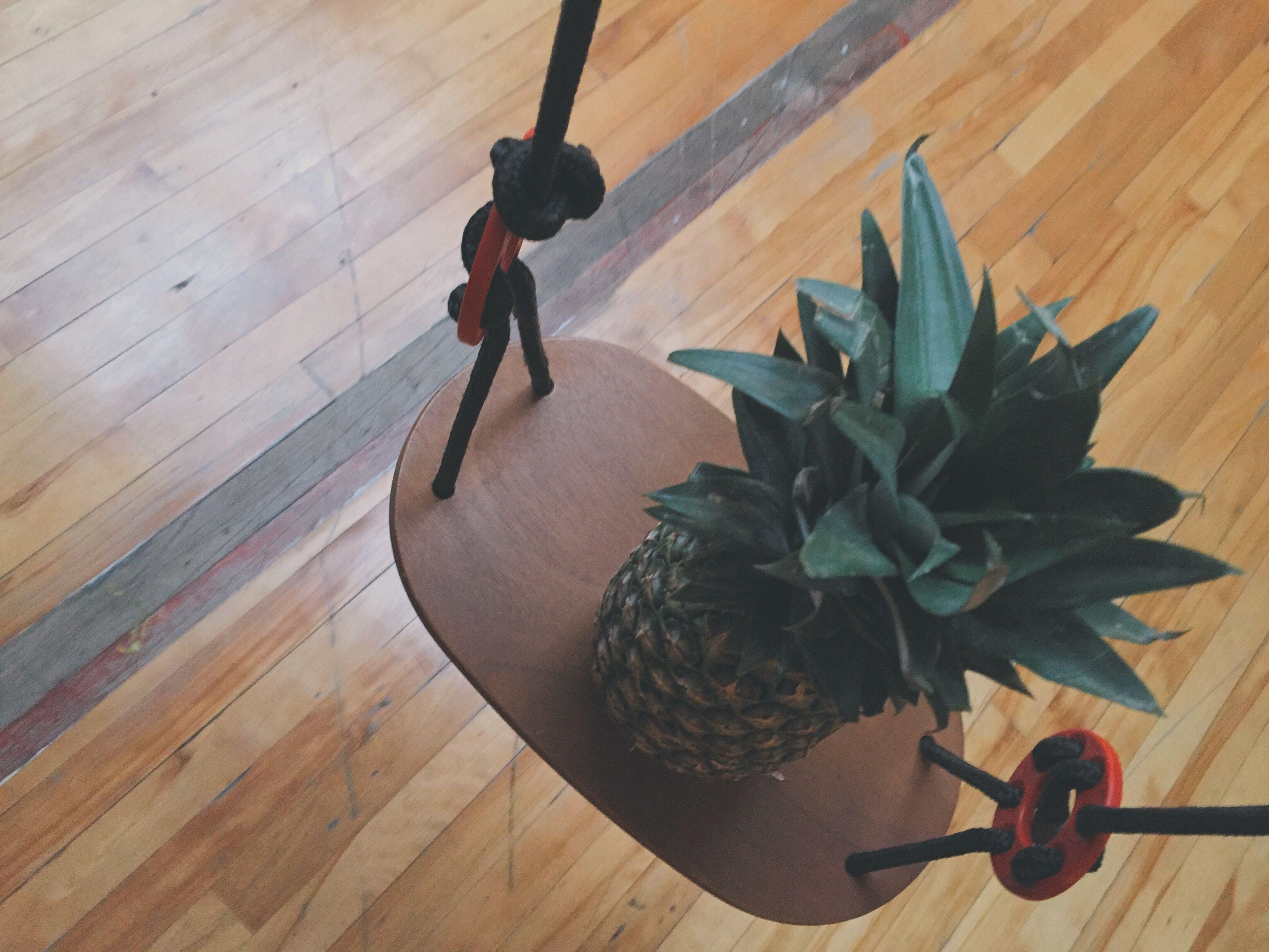Pineapple on Brown Wooden Rack