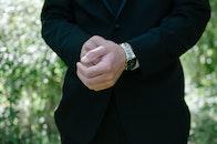 man, suit, hands