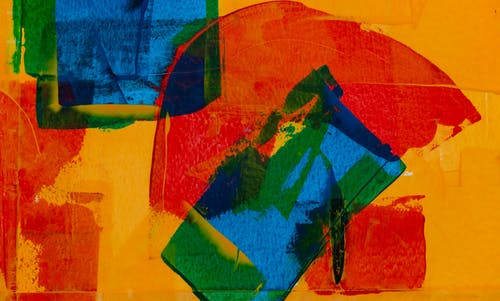Red, Orange, Green, and Blue Abstract Painting