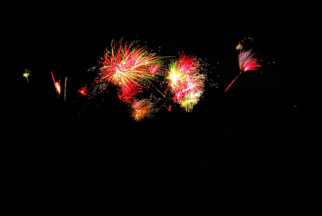 ano novo, cores, fogo de artifício
