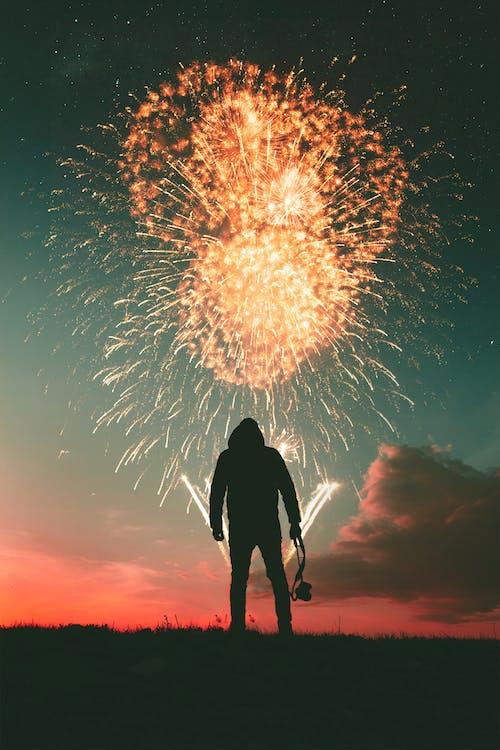남자, 보고 있는, 불꽃놀이