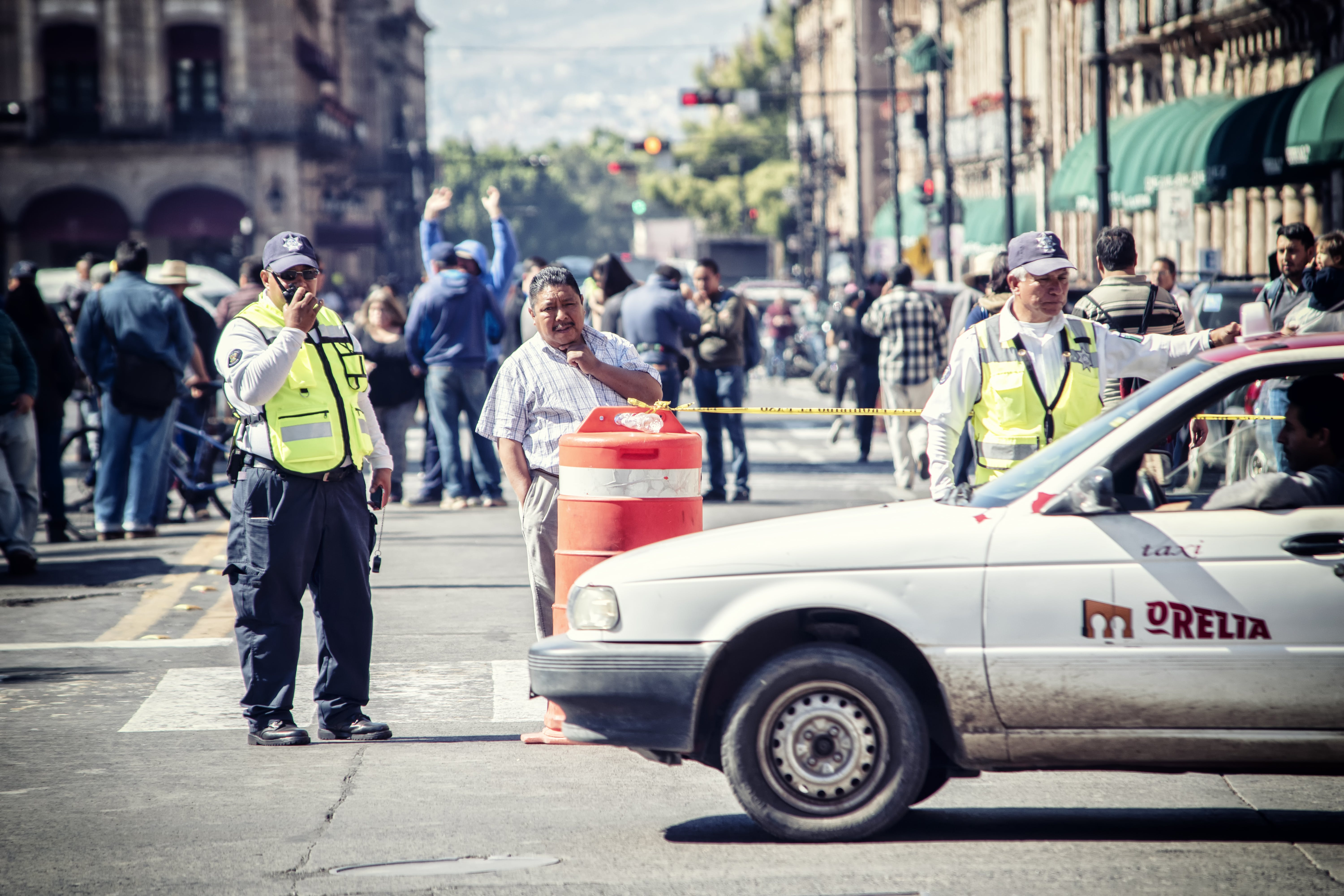 Free stock photo of cab, cops, downtown, law
