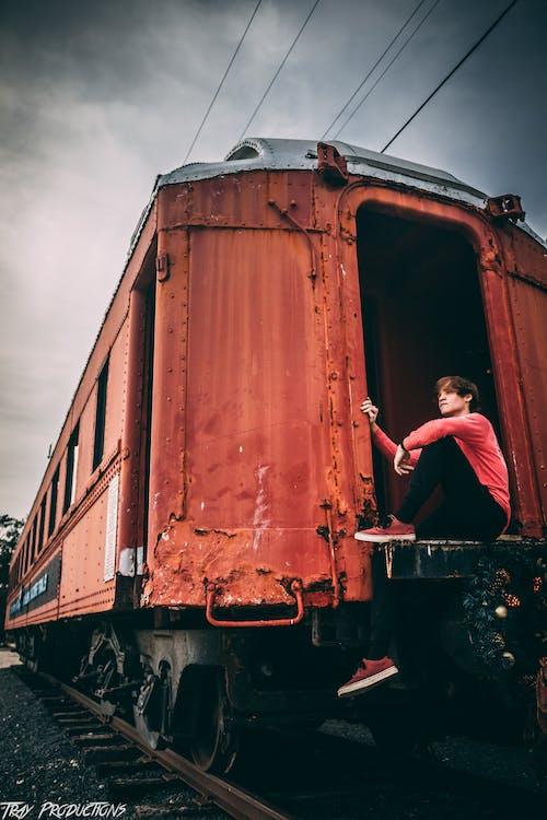 červená, červený vlak, cvičiť